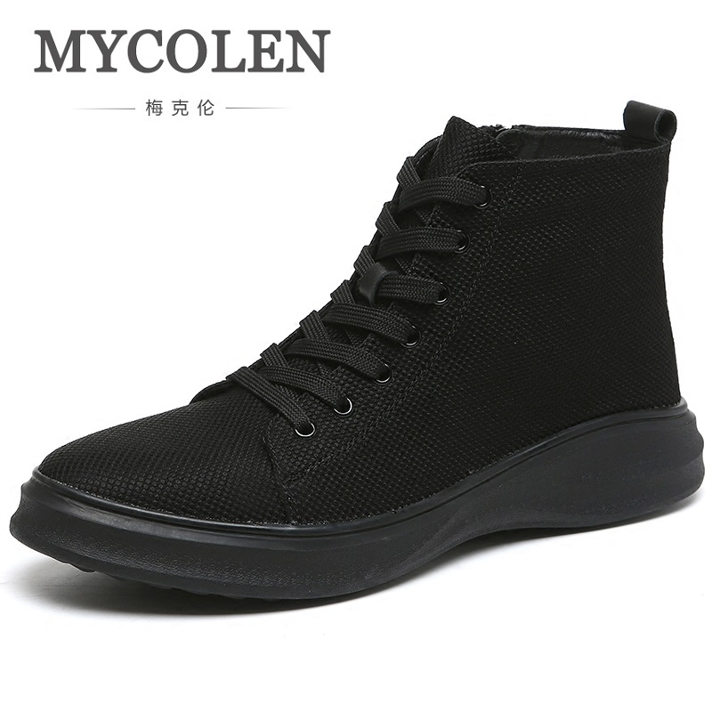 MYCOLEN Spring/Autumn Top Brand Boots Men Breathable Canvas Shoes Genuine Outdoor High Top Shoes Chaussure Securite TravailMYCOLEN Spring/Autumn Top Brand Boots Men Breathable Canvas Shoes Genuine Outdoor High Top Shoes Chaussure Securite Travail