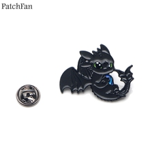 Patchfan How to train your dragon night fury toothless Zinc tie Pins backpack clothes brooches for men women badges medal A1464