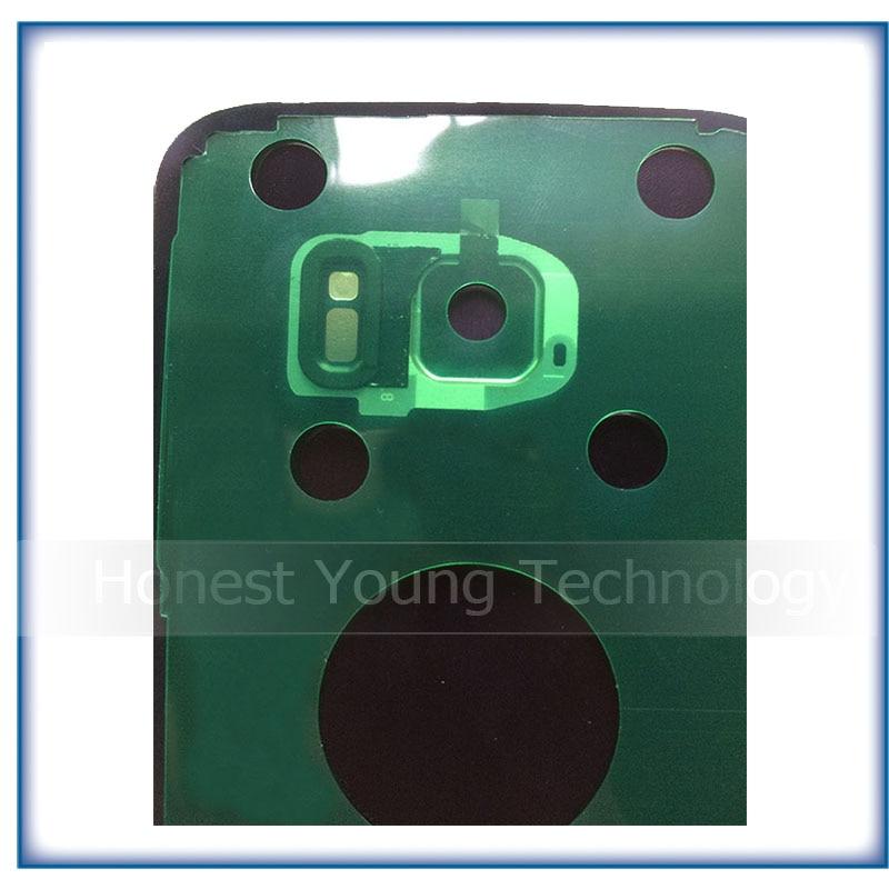 2 stücke Neue Hinten Panel Glas Batterie Zurück Abdeckung Für Samsung Galaxy S7 G930 S7 rand G935 Mit Aufkleber + kamera Objektiv