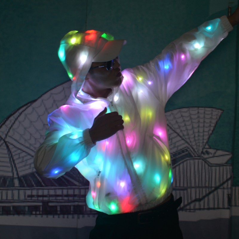 HOT Men's Costumes Stage Performance Jacket Hooded Coat Colorful LED Light Flash Club Wear White Long Sleeve Z14