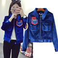 autumn 2016 new women's Korean fashion all-match letter embroidered velvet short casual jackets
