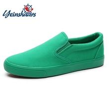 Yeinshaars nova lona sapatos de condução homens verde preto amarelo branco vulcanizado preguiçoso sapatos de lona dos homens designer tênis moda