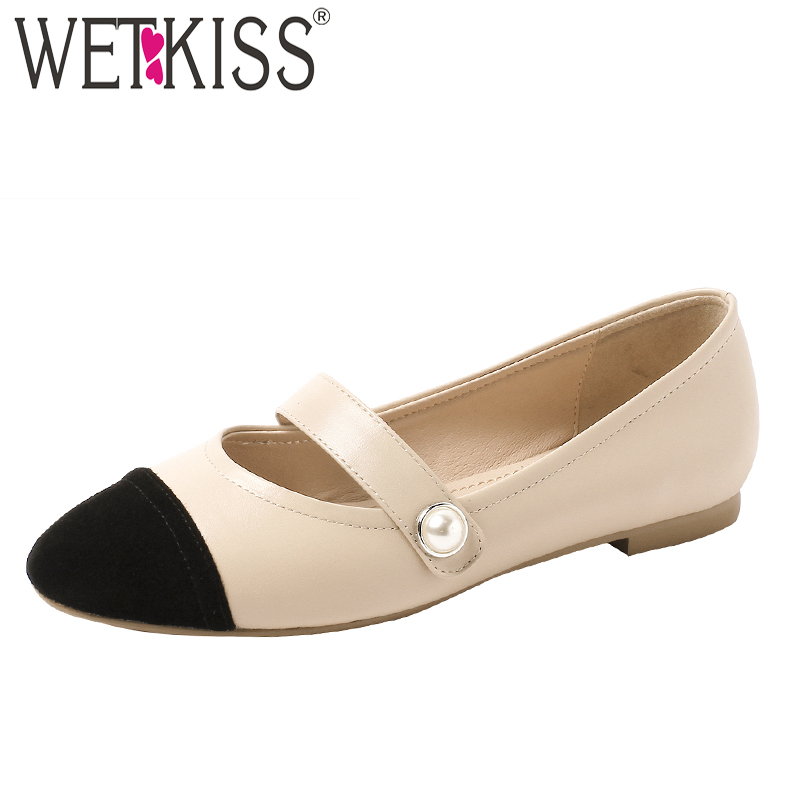WETKISS Pearl Mary Jane Flats Women Round Toe Footwear Fashion Cow   Leather   Shoes Female Kid   Suede   Girl Shoes Woman Summer 2019