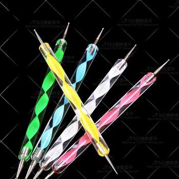 2018 nowy (1 sztuk sprzedam) MOONBIFFY 2 Way Marbleizing Nail Art długopis do malarstwa kropkowego narzędzia do manicure długopis do kropek ozdabianie paznokci narzędzie Dot Set tanie i dobre opinie LOLEDE Paznokci brokat