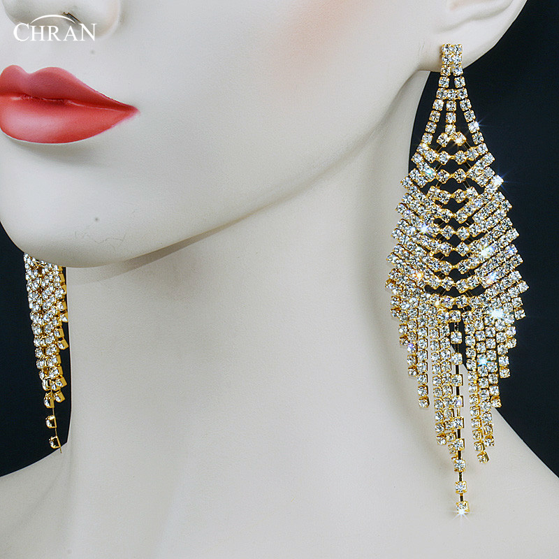 Sparkling Crystal Block Ring Chandelier: Chran Sparkling Gold Color Crystal Evening Party Earings