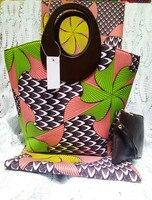 (3 шт./компл.) зеленый и розовый 6 ярдов Африканский принт ткани с сумка и кошелек Гана ткань Африканская мода Текстиль Mar 8 2018