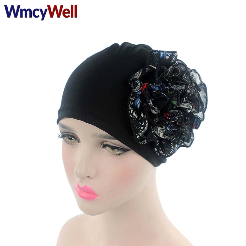 WmcyWell Summer Women Flower Cancer Chemo Hat Beanie Scarf Turban Girl Head Wrap Cap Knitted Casual Chiffon Cotton Hat Casquette new cotton slouchy wrinkle cap double flower floral beanie hats for cancer chemo patients