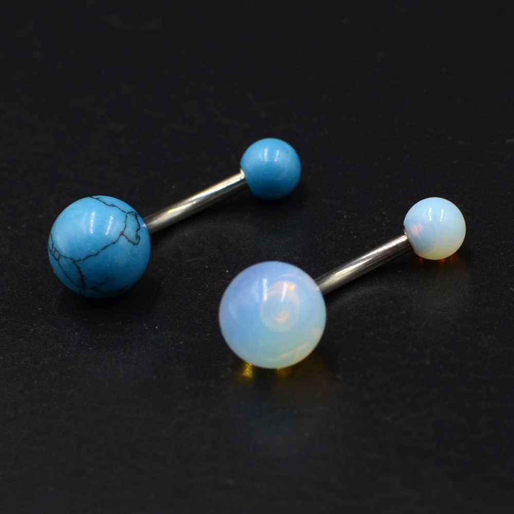 1 Pc פלדה כירורגית כחול אבן לבן אופל טבור טבור טבעת Ombligo פירסינג כפול חוט טבור עגילים