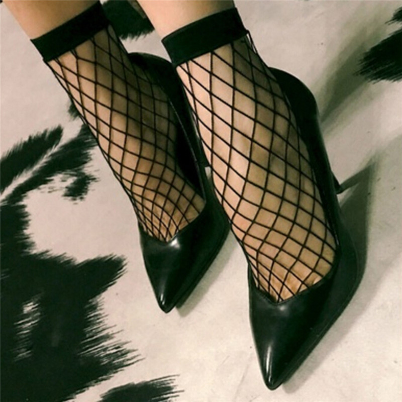 1Pair Sexy Wild Lace Ruffle Fishnet Female Short Ankle Socks Fishnet Thin Women Short Paragraph Hollow Fishnet