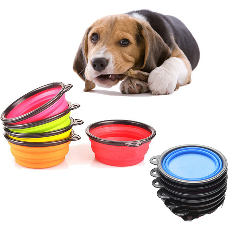 Hot 1Piece Portable Silicone Folding Travel Foderskål Camping - Pet produkter - Foto 1