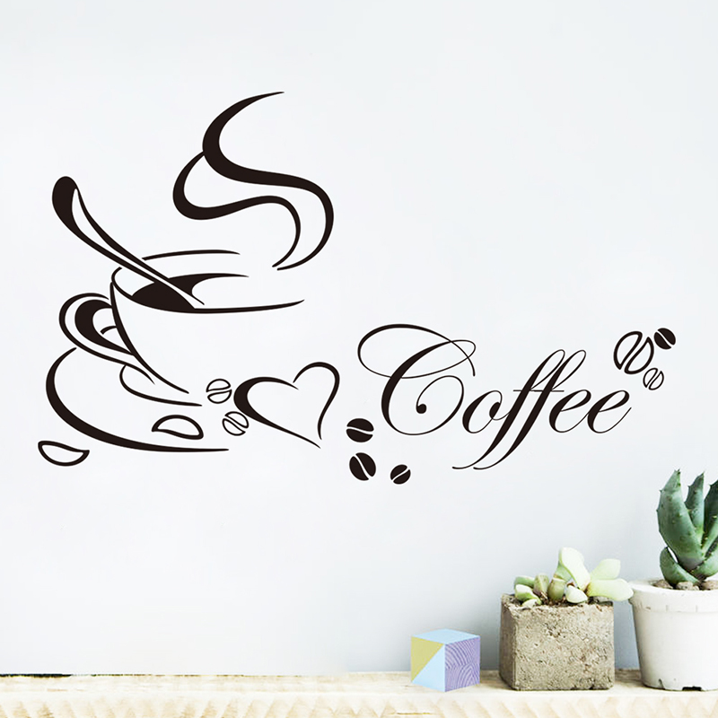 Creative Fragrant Coffee Wall Stickers For Kitchen Dining Room Home Decorations Vinyl DIY Decor Wall Home Mural Art Decals ...