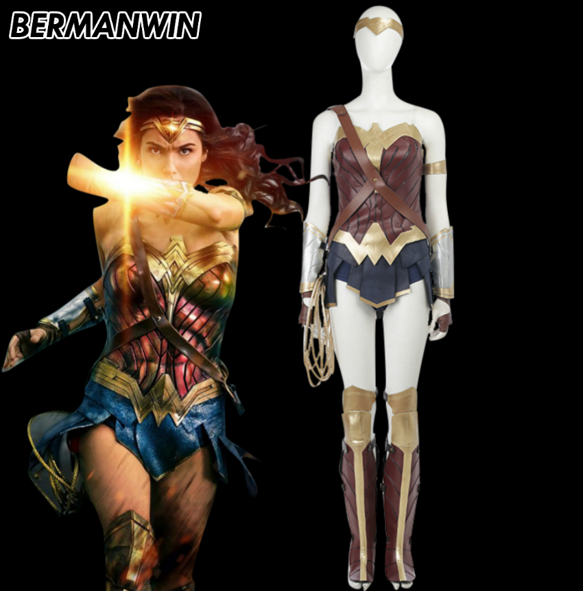 BERMANWIN High Quality Wonder Woman Costume Justice League Wonder Woman Halloween Cosplay Costume for adult women superhero suit
