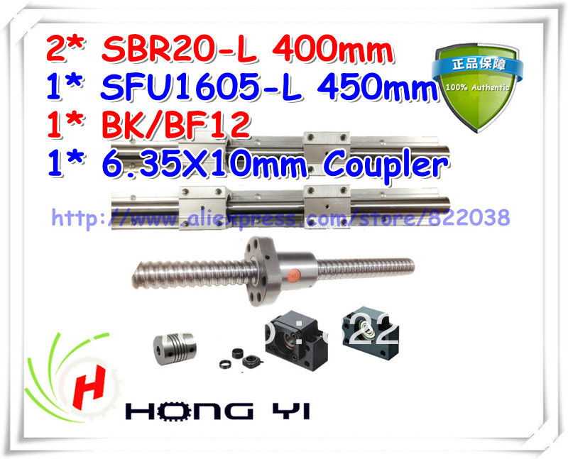 Best length for Z axis ball screw RM1605 L450mm & 2PCS linear guide SBR20-L400mm +4pcs SBR20UU & BK/BF12 & coupler 6.35 * 10 4pcs new for ball uff bes m18mg noc80b s04g