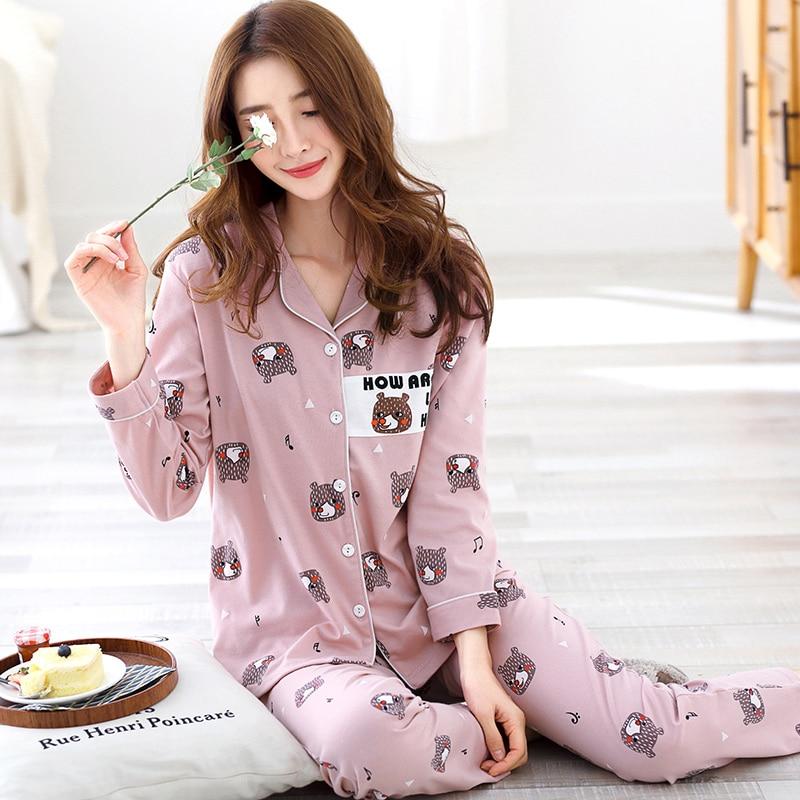 7c19288ca8 Hzmczl Women Winter Pajama Set Soft Printing pijama Home Pyjamas Woman  Cotton Pyjama Set Sleepwear Plus Size Pajamas For Women-in Pajama Sets from  Women s ...