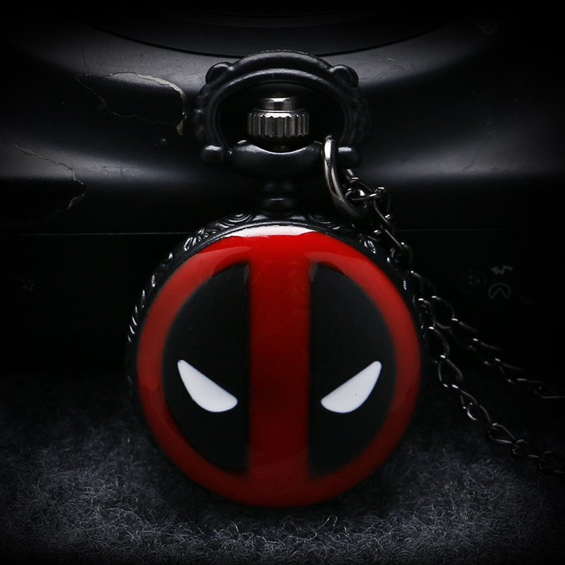 Small Size New Fashion Black DEADPOOL Marvel Animation Anime Bullet Quartz Pocket Watch Pendant Necklace Mens Womens P956