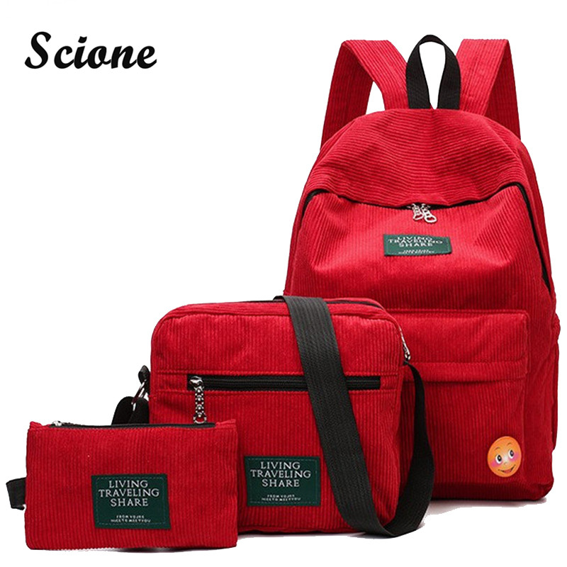 Scione Embroidery Backpack Casual Preppy School Backpacks Travel Rucksack Large Capacity Back Pack Bag 3PCS/Set Unisex Schoolbag nerf rebelle бластер чарм неустрашимый