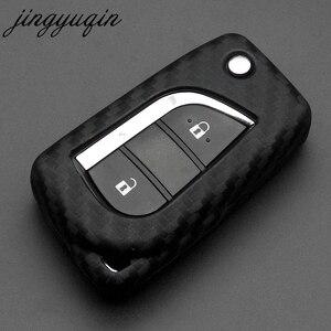 Image 4 - jingyuqin Carbon Fiber Silicone Remote Fob Case For Toyota Highlander Camry Corolla EX VIOS 3 Button Car Flip Folding Key Cover