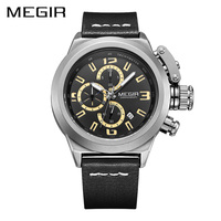 MEGIR Official New Sport Watch Multifunction Quartz Movement Men Wristwatch Leather Strap Luminous Waterproof Relogio Masculino