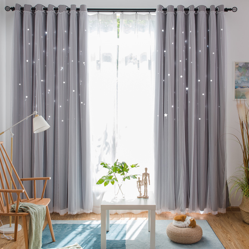 Star Decorative Curtain Thermal Insulated Blackout Curtains for Living Room Bedroom  Princess Room Blinds Stitched With Voile