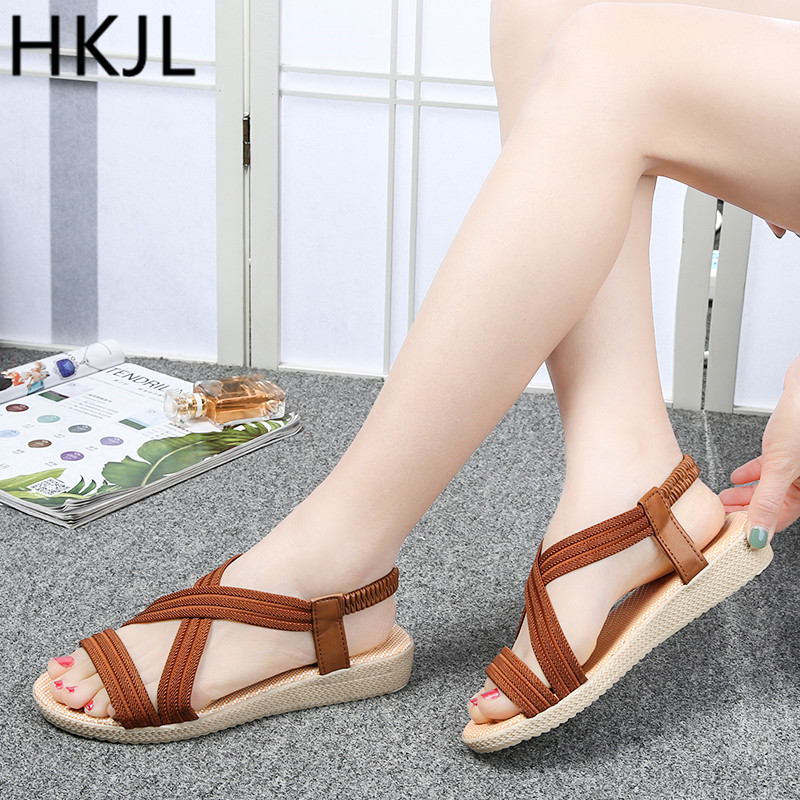 HKJL 2019 hot Summer New Women Sandals Simple Fish Mouth Slip-On Flat Shoes Solid Color Elastic Band Rome Woman A068