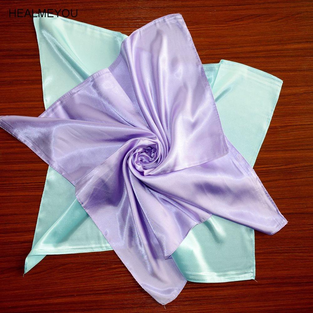 Women Fashion Soft Silk Square Scarf Small Plain Neckerchief Head Neck Headband plain headband 3pcs