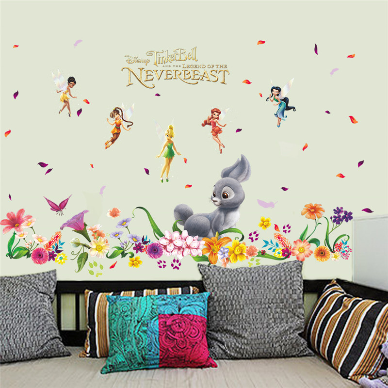 HOT 3D Romantic Flower Fairy Rabbit Butterfly Wall Stickers Home Decor For Kids  Rooms Living Room Bedroom Nursery PVC Girl Gifts In Wall Stickers From Home  ... Part 9
