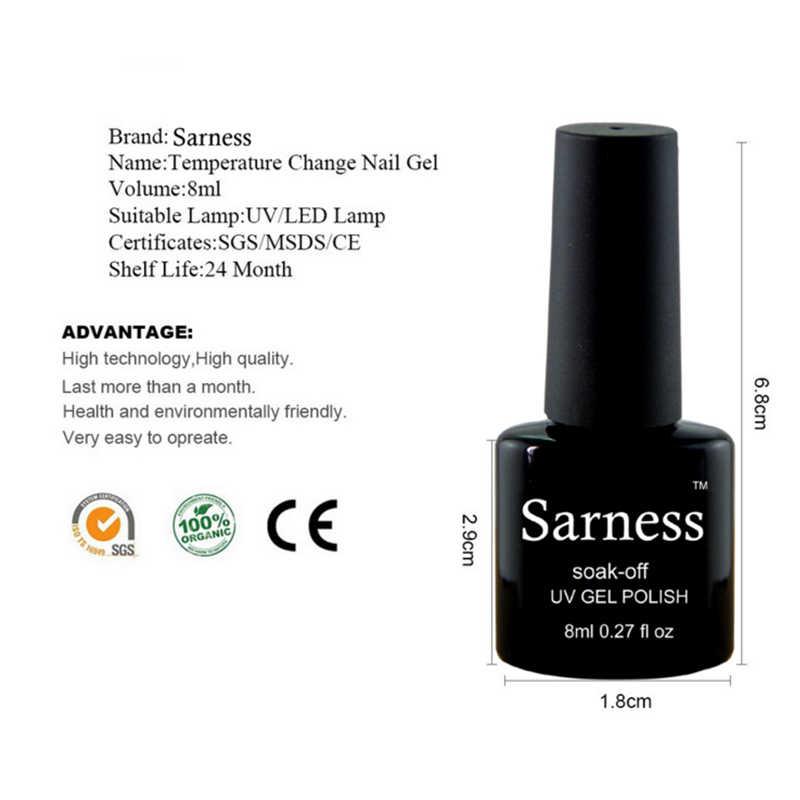 Sarness Yeni Kalıcı Jel Vernik LED UV Jel Tırnak 8 ml Kapalı Islatın Isı Sıcaklık Değişimi Renk Sır Jel Lehçe tırnak Sanat için