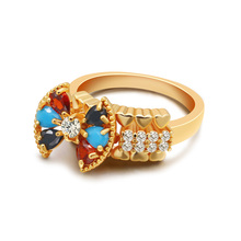 Fashion women gold ring Simple Bow ring gold plating 6-9 size Charming lady classic design golden jewelry. недорого