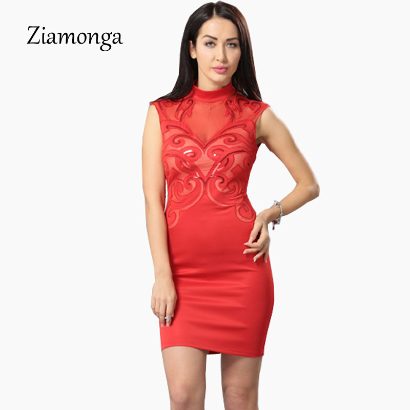ca69b0e2810c5 Ziamonga Plus Size S XXL Mesh Patchwork Bodycon Dress Sexy Clubwear Black  Sequin Dresses Party Vintage Printed Bandage Dress-in Dresses from Women's  ...