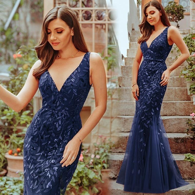 Sexy paillettes sirène robes De bal longue jamais jolie col en v sans manches femmes élégantes robes De soirée formelles Vestidos De Gala 2019