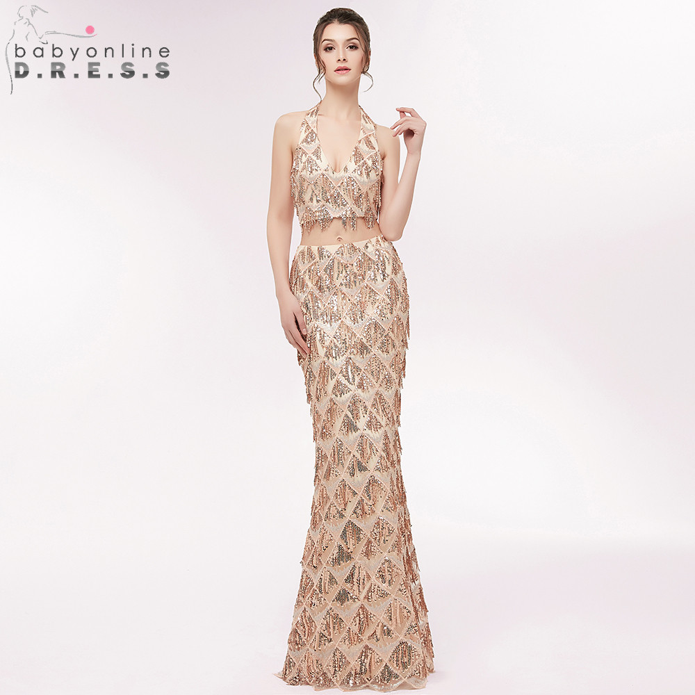 Halter Reflective Two Piece Mermaid Long   Evening     Dresses   2019 Luxury Beading Sequined Crop Top Prom Gown Robe de Soiree