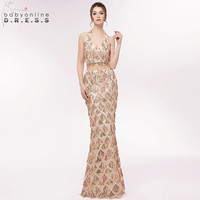 Sexy Halter Neck Two Pieces Mermaid Long Evening Dress 2018 Luxury Beading Sequined Crop Top Evening Gown Robe de Soiree Longue