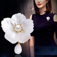 6 colors high quality flower brooch pins fashion simple big flowers shell elegance girls water drop women jewelry lovers gift