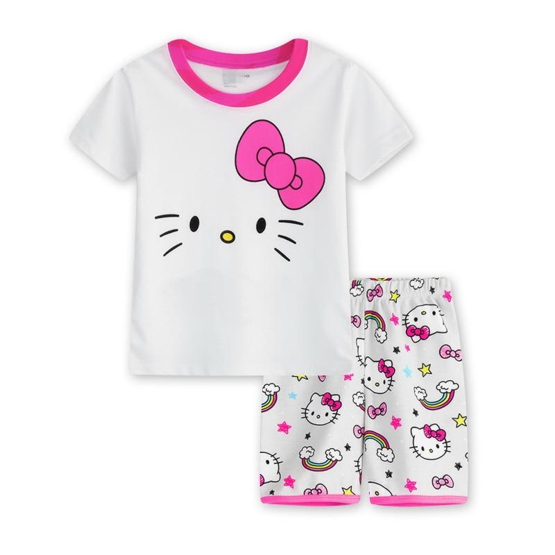 2016 new arrival summer children cartoon pyjamas clothing T shirt and shorts pyjamas