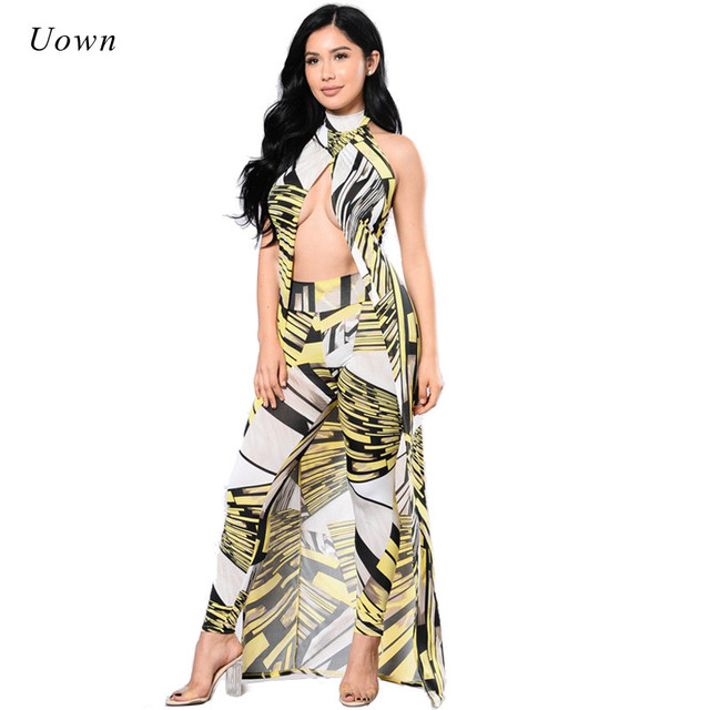 f87acbbaa418ac Party Club Sexy 2 Piece Set Women Autumn Fashion Halter Long Tops Backless  Cardigan Coat + Printed Leggings Ladies Trouser Suits