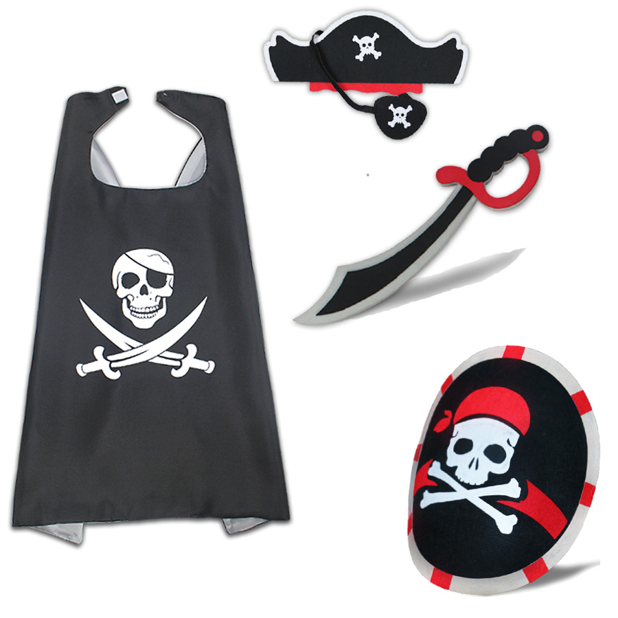 SPECIAL 70*70 Cm Pirate Costume Fancy Dress For Kids Sword Felt Shield Role Play Captain Hero Costume Cape Pirate Kids Clothes