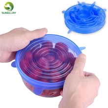 Sunglory 6PCS Reusable Silicone Stretch Air-tight Vacuum Lid Keep Fresh Leakproof Food Bowl Cover Lid Kitchen Silicone Food Wrap silicone food wrap bowl pot cover stretch lid kitchen vacuum sealer