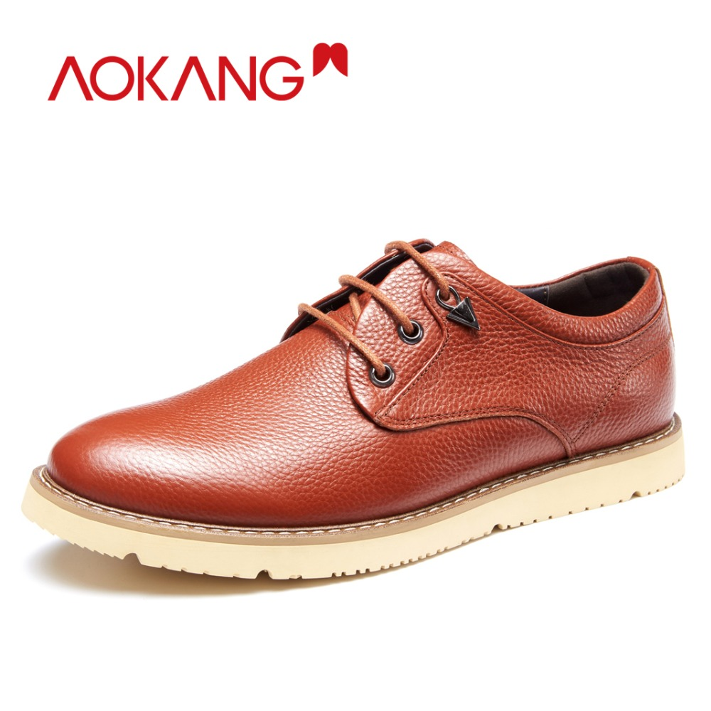 AOKANG New Arrival spring autumn Men Shoes casual genuine leather lace up social solid round toe