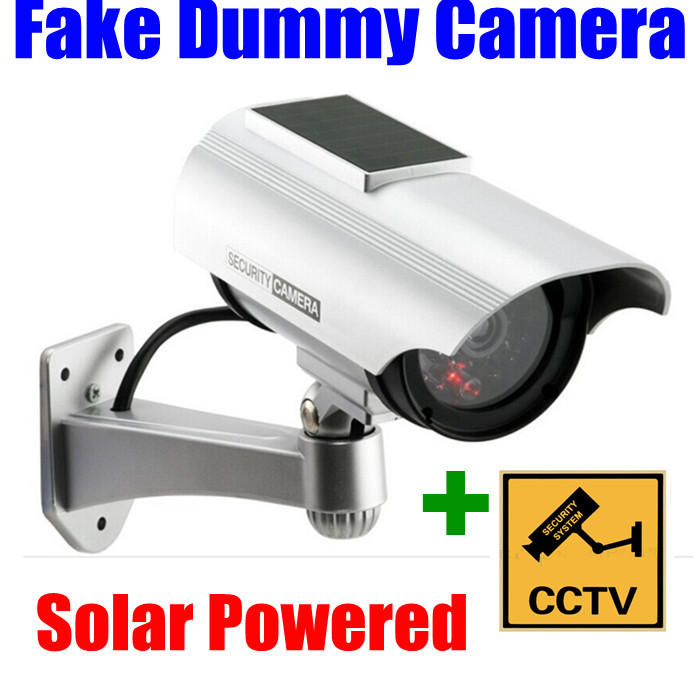 New Indoor/Outdoor Solar Powered Fake Dummy Security Bullet Camera with IR LED Light Waterproof Free Shipping wholesale hkes wholesale 8pcs lot free shipping indoor ir dome ip camera with microphone
