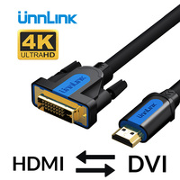 Unnlink HDMI to DVI DVI-D 24+1 pin Adapter 4K Bi-directional DVI to HDMI Cable 3m 5m 8m 15m for projector led tv mi box computer