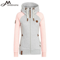 Avodovama M Women Fashion Long Sleeve Shirts Hooded Casual Patchwork Appliques Tops