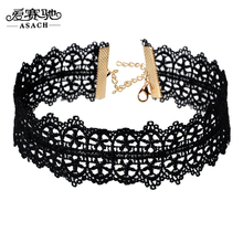 ASACH Gothic Black Lace Choker Necklace For Women Vintage Jewelry Accessories Femme Wide Necklaces Chocker colar collier femme