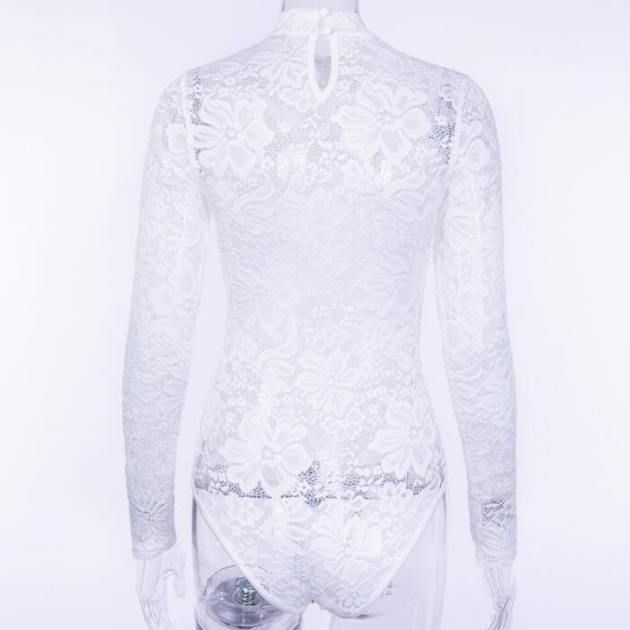 a9edd526641e 2018 Elegant Floral White Lace Bodysuit Women High Neck Sexy Bodysuit  Bodycon Long Sleeve See Through Jumpsuit Romper YFL-66. 25 26 27 28 29 30  31 32 ...