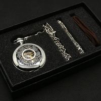 Antique Gift Set Skeleton Steampunk Mechaical Pocket Watch Hollow Carving Flower Pattern Pendant Clock Gift Box