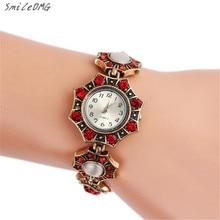 SmileOMG Hot Sale New Fashion Women's Minimalism Rhinestone Golden Stainless Steel Wrist Watch Free Shipping ,Sep 19