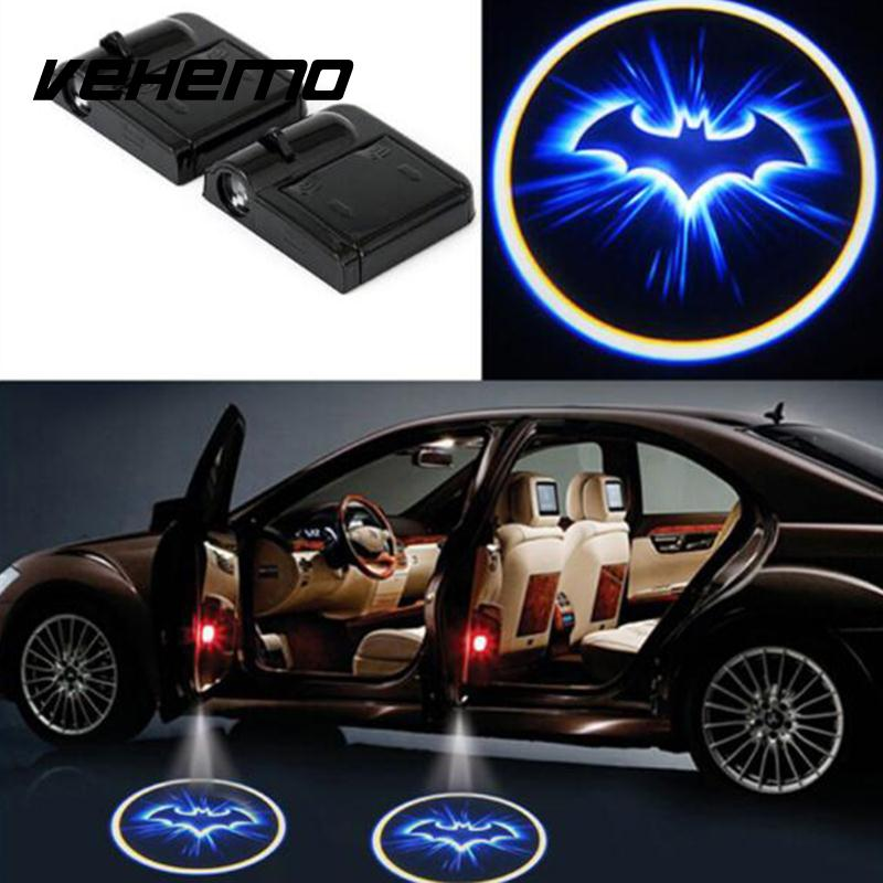 VEHEMO Wireless Car-styling Auto Door Led Welcome Laser Projector Logo Ghost Shadow Light Batman Car Interior Lamp Light 2 pcs12v led car door ghost emblem logo light welcome lamp auto laser projector light all car for bmw vw mazda opel nissan lada
