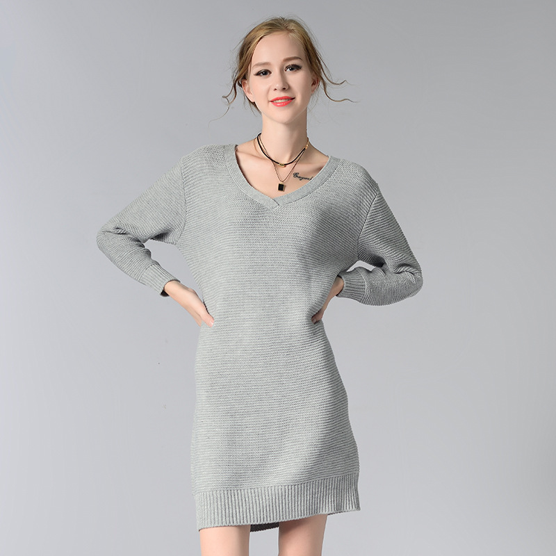 HMCHIME 2017 Autumn winter women knitted dress fashion sexy all match long sleeve V neck pure color woman pullovers dress HM679 hmchime 2017 autumn women high elastic knitted dress fashion sexy patchwork round collar long sleeve woman sweater dress hm703