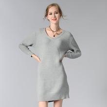 Hmchime осень 2017 г. зимние женские трикотажное платье модные пикантные Длинные рукава с v-образным вырезом чистый цвет женщина пуловеры платье HM679