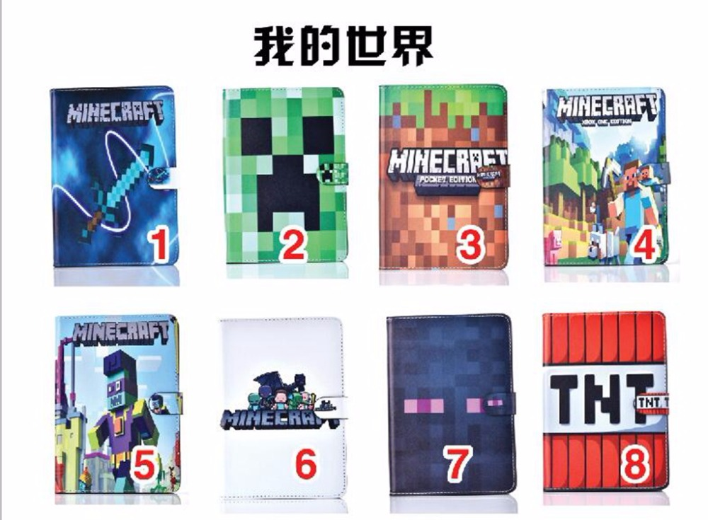 Case for Apple ipad mini4 Minecraft tablet PU leather Cover Flip stand shell coque para image