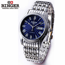 100% Brand New Fashion Silver Elegant Mens Stylish Bling Shining Analog Clock Birthday Gift Wristwatch Blue Table Binger Watches